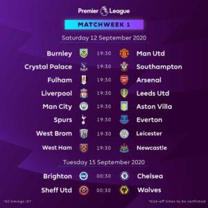 Jadwal Pekan Perdana Liga Premier Inggris 2020/2021 : Liverpool Akan Memulai Pertahanan Gelar Liga Premier di Kandang Melawan Leeds