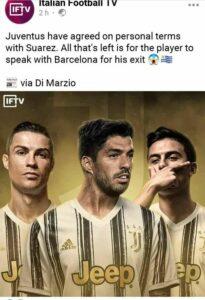 Ini Susunan Pemain Starting Line Up XI Juventus Dengan Tambahan Luiz Suarez