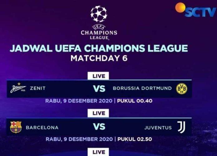Jadwal Siaran Langsung Liga Champions Tanggal 9-10 Desember di SCTV